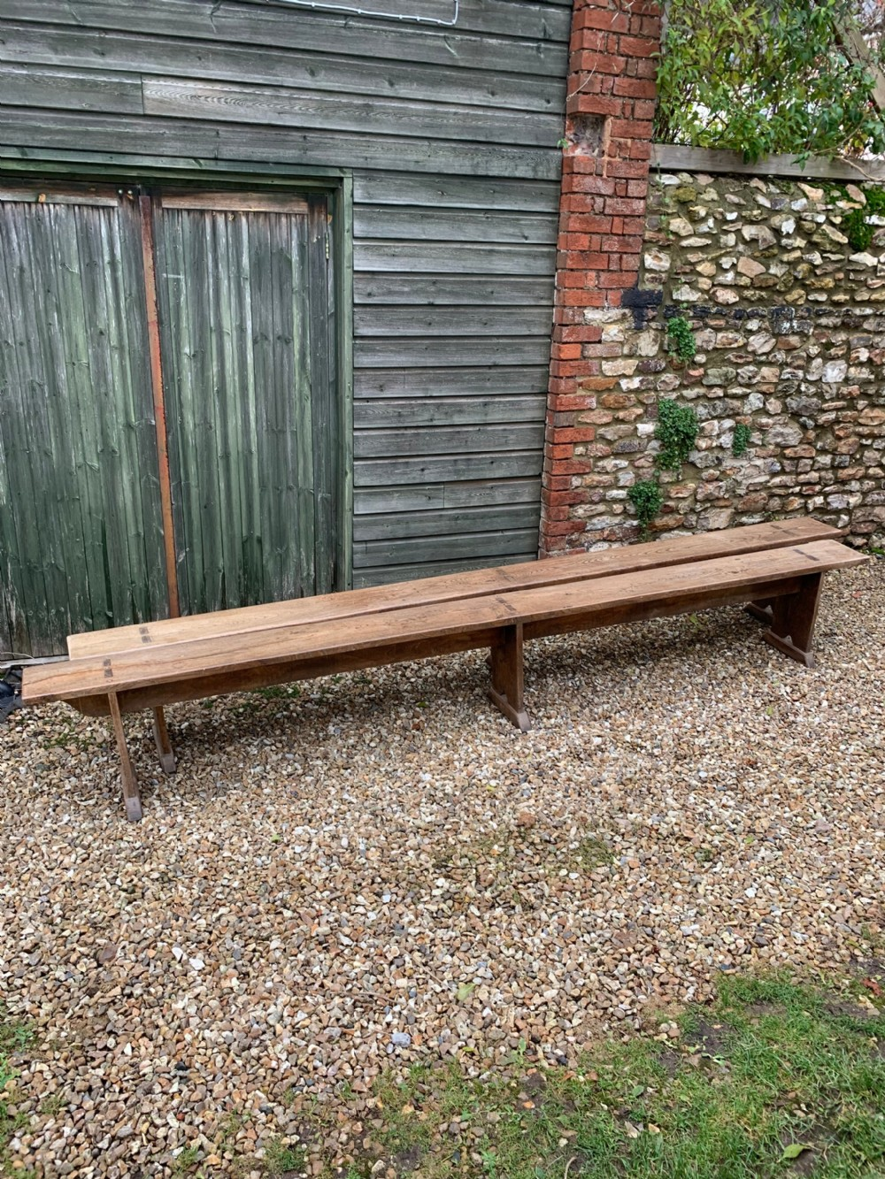 long pair of elm benches 35 meters